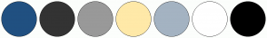 Color Scheme with #205081 #333333 #999999 #FFE9A8 #A4B3C2 #FFFFFF #000000