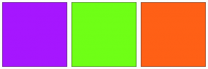 Color Scheme with #A616FF #6FFF16 #FF6016