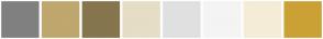 Color Scheme with #808080 #BFA76E #86754D #E6DDC6 #E0E0E0 #F4F4F4 #F5ECD7 #CBA135