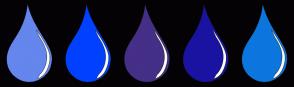 Color Scheme with #6486ED #0040FF #452F87 #1A13A1 #0D76DE