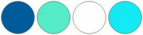 Color Scheme with #005B9A #56ECC8 #FFFEFE #13EAF3