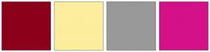 Color Scheme with #8C001A #FCEE9D #999999 #D41188