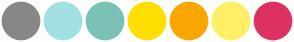 Color Scheme with #878787 #A0E0E3 #7BC1B5 #FFDF00 #F9A602 #FFF066 #DE3163