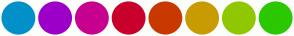 Color Scheme with #0191C8 #9C00C8 #C8008F #C8002B #C83900 #C89C00 #8FC800 #2BC800