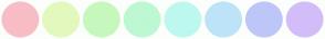 Color Scheme with #F8BDC6 #E3F8BD #C6F8BD #BDF8D2 #BDF8EF #BDE3F8 #BDC6F8 #D2BDF8
