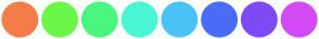 Color Scheme with #F47D4A #6CF64A #4AF67D #4AF6D3 #4AC2F6 #4A6CF6 #7D4AF6 #D34AF6