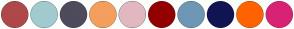 Color Scheme with #AF4848 #A1CBCF #4E4B5C #F49F5D #E1B8C0 #930000 #6E97B6 #121453 #FF6300 #D82374