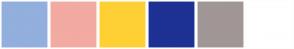 Color Scheme with #92AFDD #F2AAA2 #FFD034 #1E3194 #A19696 #FFFFFF