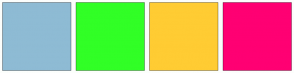 Color Scheme with #8EBBD4 #31FF26 #FFCC33 #FF0073