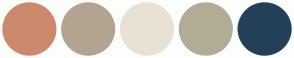 Color Scheme with #CC896C #B3A491 #E8E2D4 #B2AC96 #234058