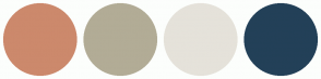 Color Scheme with #CC896C #B2AC96 #E5E2DA #234058