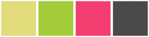 Color Scheme with #E2DC7C #A3CD39 #F43E71 #4A4A4A