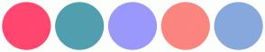 Color Scheme with #FF476F #509FAF #9A99FB #FB857F #87A8DD