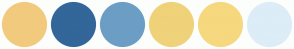 Color Scheme with #F2CA7E #336699 #6C9EC5 #EFD279 #F6D87F #DCEDF7