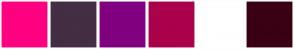 Color Scheme with #FF0080 #432E43 #800080 #AB004B #FFFFFF #3A0013