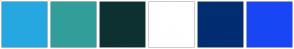 Color Scheme with #25A8E0 #329E9A #0D3130 #FFFFFF #012D71 #1946F5