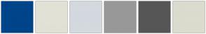 Color Scheme with #004489 #E1E1D6 #D3D9DF #989898 #565656 #DBDBCE