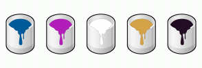 Color Scheme with #005B9A #B21EBA #FFFFFF #D4A348 #230E24