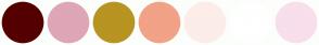 Color Scheme with #540000 #DEA6B7 #B89422 #F2A286 #FCEDE8 #FFFFFF #F8DFEB