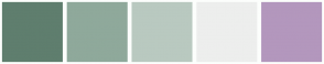Color Scheme with #5F7E6E #8FA99B #B9C9C0 #EDEEED #B397BD