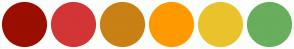 Color Scheme with #9A0E00 #D23535 #C98014 #FF9900 #EAC32C #68AE5C