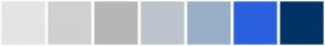 Color Scheme with #E5E4E2 #D1D0CE #B6B6B4 #BCC4CC #98AFC7 #2B60DE #003366