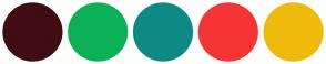 Color Scheme with #400D12 #0BB057 #0E8A84 #F73434 #F0BA0C
