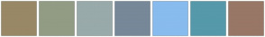 Color Scheme with #998866 #929C84 #99AAAA #778899 #88BBEE #5599AA #997766