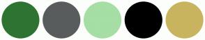 Color Scheme with #2F7333 #595C5C #A6DEA6 #000000 #C9B45F