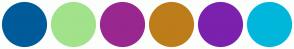Color Scheme with #005B9A #A2E28B #99278F #BD7D1A #7B21AD #00B7DB