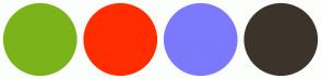 Color Scheme with #7BB31A #FF2D00 #7C79FD #3C342A