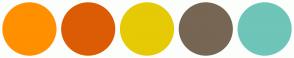 Color Scheme with #FF9000 #DC5C05 #E5CA05 #766653 #6EC5B8