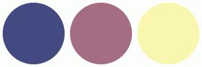 Color Scheme with #434A81 #A56D83 #F9F7AF