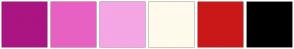 Color Scheme with #AA1582 #E761C3 #F4A6E5 #FFFAEB #CA1818 #000000
