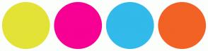 Color Scheme with #E3E337 #F70094 #32BAEA #F26225