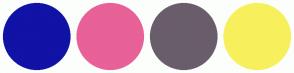 Color Scheme with #1112A6 #E86197 #6A5D6B #F7F05C