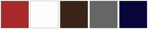 Color Scheme with #A72A2A #FDFDFD #3A2319 #666666 #09063C