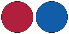 Color Scheme with #B0203D #115DA8