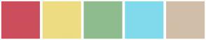 Color Scheme with #CC4E5C #EEDC82 #8FBC8F #80DAEB #D1BEA8