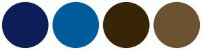 Color Scheme with #0C1F57 #005B9A #382507 #6B5233
