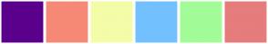 Color Scheme with #5B008C #F58976 #F4FCA7 #73C0FF #A2FC97 #E67C7C