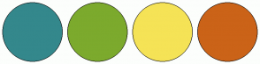 Color Scheme with #34888C #7CAA2D #F5E356 #CB6318