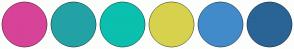 Color Scheme with #D74398 #23A2A6 #0BC0AE #D7D24D #428BCA #2A6496