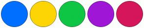 Color Scheme with #006FFF #FDD504 #0FC544 #A016D6 #D6165A