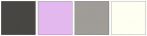 Color Scheme with #474643 #E3B8EF #A09C97 #FFFEF2