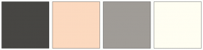 Color Scheme with #474643 #FCD9BF #A09C97 #FFFEF2