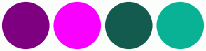 Color Scheme with #7E0081 #F900FF #145B4F #09B295
