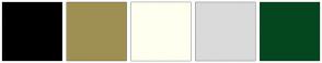 Color Scheme with #000000 #9F8F53 #FFFFF0 #DADADA #04471F