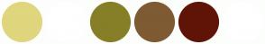 Color Scheme with #E0D67D #FFFFFF #867F27 #7E5B33 #601407 #FFFFFF
