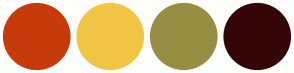 Color Scheme with #C73B0B #F2C545 #978E43 #350608